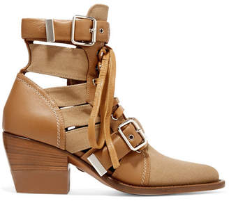 Chloé Rylee Cutout Leather And Canvas Ankle Boots - Brown