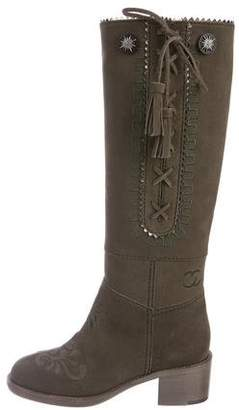 Chanel Embroidered Knee-High Boots w/ Tags