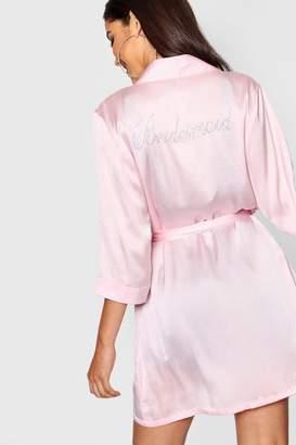 boohoo Diamante 'Bridesmaid' Satin Robe