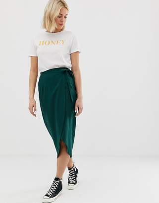 Asos Design DESIGN wrap midi skirt with tie side