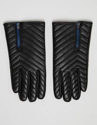 Asos DESIGN leather gloves in black quilt with zip detail