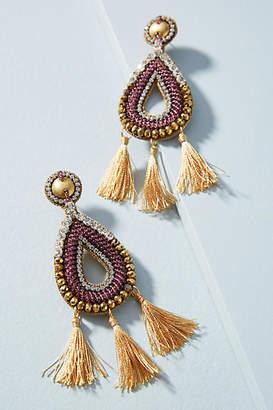 Anthropologie Tri-Tassel Drop Earrings
