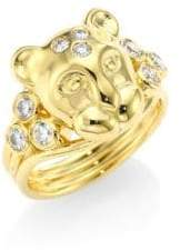 Temple St. Clair Large Lion Cub Diamond& 18K Yellow Gold Ring