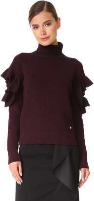 Versace Ruffle Arm Sweater $995 thestylecure.com