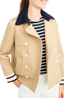 Women's J.crew Stripe Cuff Crop Trench Coat $158 thestylecure.com