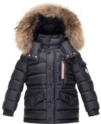 Moncler Boys' Lilian Hooded Puffer Coat, Navy, Size 8-14 $855 thestylecure.com