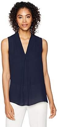 Lark & Ro Women's Woven Sleeveless V Neck Top