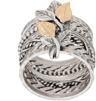 Or Paz 14K Gold & Sterling Silver Multi-Band Ring w/ Leaf Details