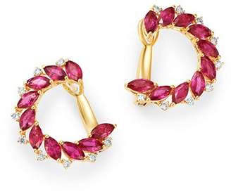 Bloomingdale's Ruby & Diamond Front-to-Back Earrings in 14K Yellow Gold - 100% Exclusive