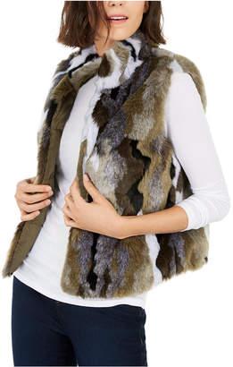 INC International Concepts I.n.c. Camo Faux-Fur Utility Vest