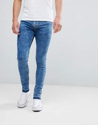 Mens Acid Wash Super Skinny Jeans, Blue (Navy), UK W30/L30 (Manufacturer Size 30S) New Look
