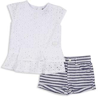 7 For All Mankind Girls' Eyelet Top & Striped Shorts Set - Baby