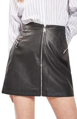 Women's Topshop Zip Faux Leather Miniskirt $68 thestylecure.com