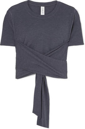 Varley - Ruth Cropped Stretch-jersey Wrap T-shirt - Navy