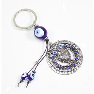JuJu Smiling Blue Evil Eye Owl Keychain Blessing Protection Religious Charm Gift