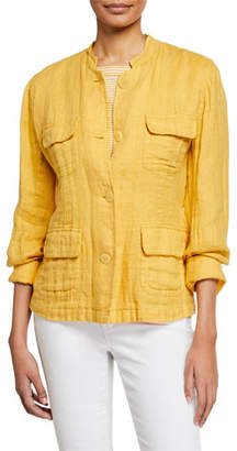 Eileen Fisher Button-Front Double-Weave Cotton Jacket w/ Pockets
