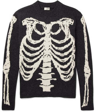 Saint Laurent Skeleton-Intarsia Wool Sweater