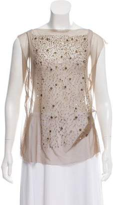 Gary Graham Embellished Silk Top