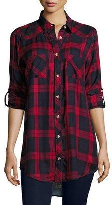 Tolani Tina Plaid Boyfriend Shirt, Red, Plus Size $170 thestylecure.com