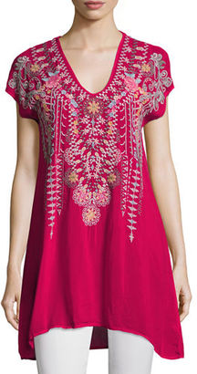 Johnny Was Karineh V-Neck Embroidered Tunic $235 thestylecure.com
