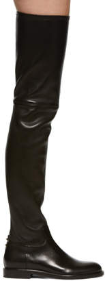 Valentino Black Garavani Stretch Leather Knee-High Boots