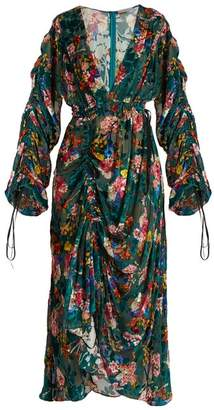 Preen by Thornton Bregazzi Opal Floral Print Velvet Devore Midi Dress - Womens - Green Multi