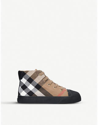 Burberry Belford leather-panelled cotton canvas high-top trainers 5-9 years