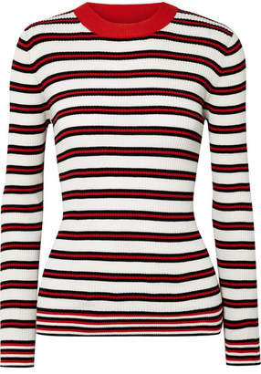 Chinti and Parker Striped Ribbed Cotton Sweater - Cream