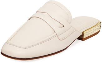 Ash Elisa Flat Loafer Mules with Golden Spike Heel
