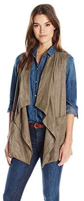 Jones New York Women's Faux Suede Draped Collar Vest