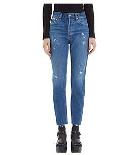 A Gold E Agolde Jamie High Rise Classic Straight Jean With Raw Hem