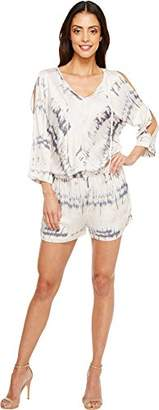 Michael Stars Women's Shibori Print Romper with Slit Sleeves