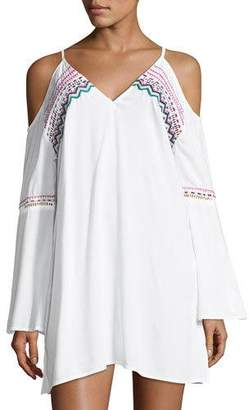 LaBlanca La Blanca Spice Market V-Neck Cold-Shoulder Tunic Coverup, Plus Size