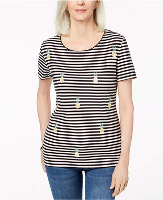 Karen Scott Americana Cotton Embroidered T-Shirt, Created for Macy's