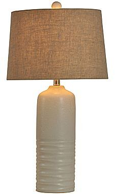 JCPenney Concrete Ceramic Table Lamp with Burlap Shade