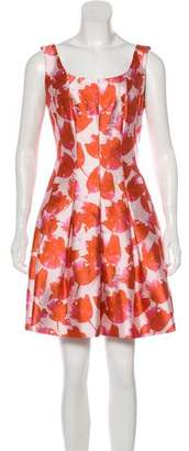 Oscar de la Renta Abstract Print Dress