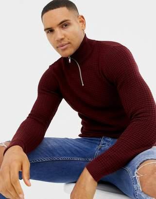 Asos Design DESIGN muscle fit waffle textured half zip sweater in burgundy