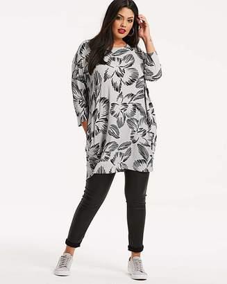 Fashion World Grey/Black Long Length Side Pocket Tunic