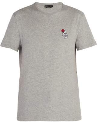 Alexander McQueen Embroidered Cotton Jersey T Shirt - Mens - Light Grey