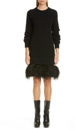 Michael Kors Collection Cashmere Sweater Dress with Feather Hem