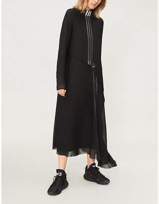 Y-3 Y3 Asymmetric-hem mesh and stretch-cotton dress