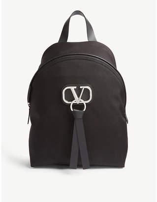 Valentino 'V' Ring logo canvas backpack