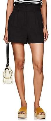 Frame Women's Linen High-Rise Paperbag-Waist Shorts - Black