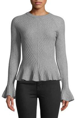 Jonathan Simkhai Ribbed Wool Bell-Sleeve Sweater