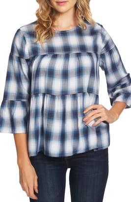 Vince Camuto Ombre Plaid Tiered Ruffle Top