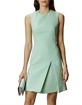 Karen Millen Pastel Green Pleated Mini Dress