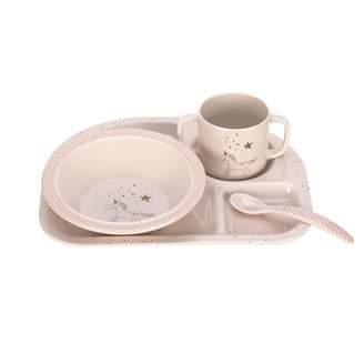 Lassig Kids Dish Set Melamine (Cup Bowl Plate Spoon) Silicone Base/More Magic Seal