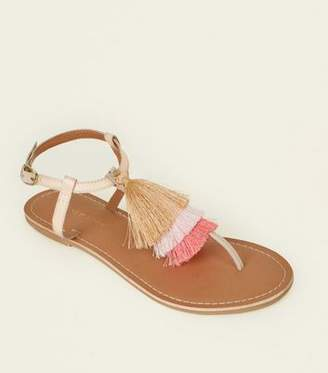 New Look Wide Fit Multi-Colour Leather Tassel Flat Sandals
