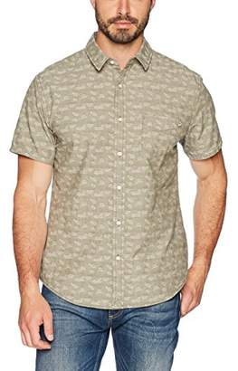 Life After Denim Men's Short Sleeve Slim Fit Dahila Jacquard Chambray Shirt