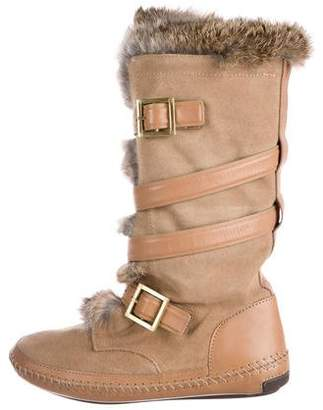 Tory Burch Fur-Trimmed Suede Boots
